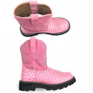 Ariat Fatbaby Pink Suede Ostrich Print Leather